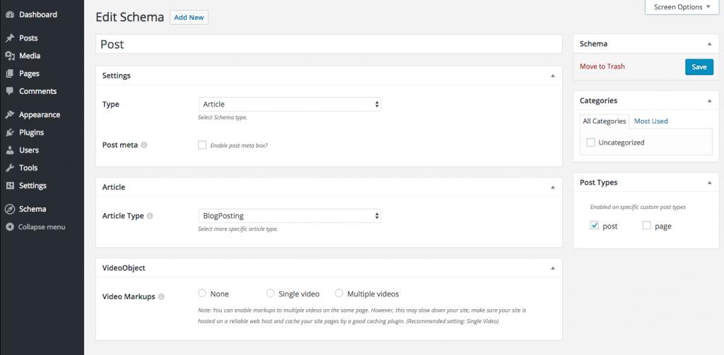 Edit Schema plugin types screen