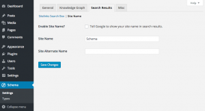 Schema plugin Search Results Site Name settings