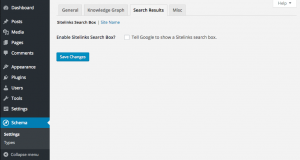 Schema plugin Search Results Sitelinks settings