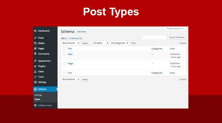 Schema Post Types Settings