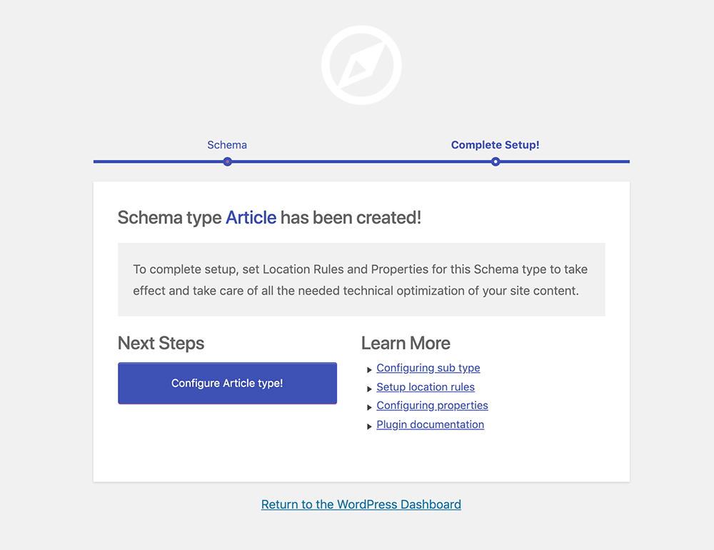 schema.org Article Creation Confirmation