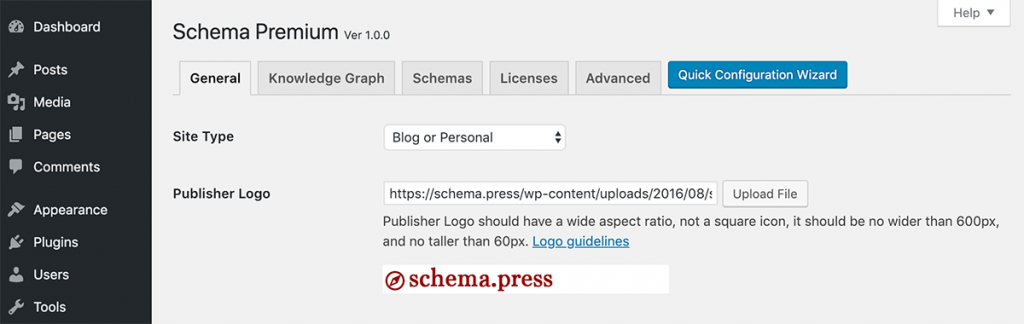Schema Premium Configuration Wizard Settings