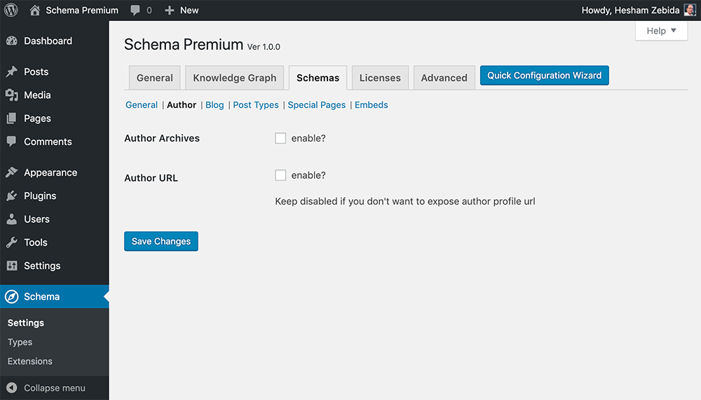 Schema Premium Settings for Author
