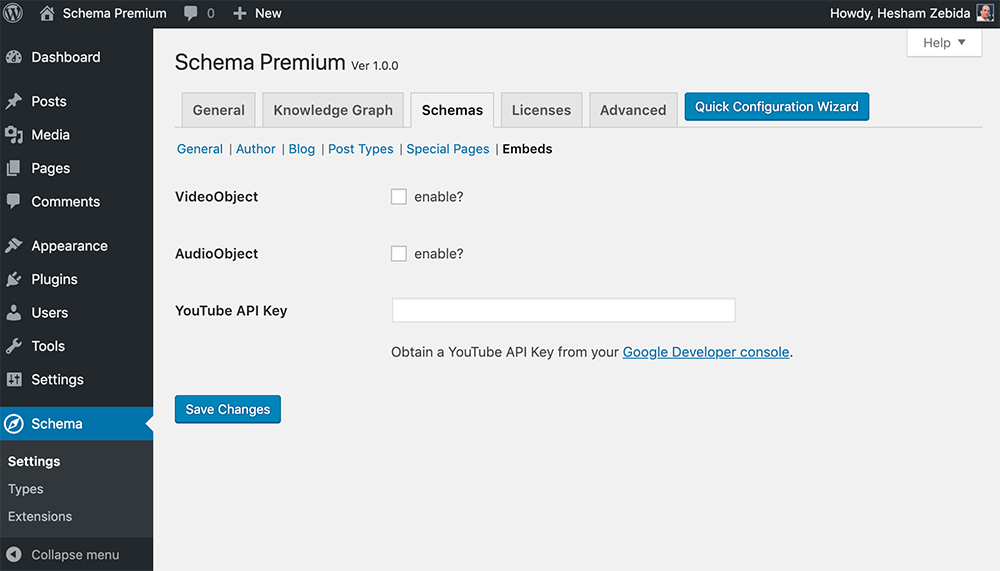 Schema Premium Plugin Settings for Embeds