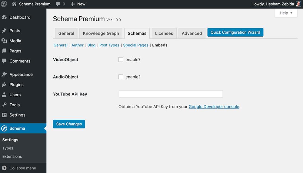 Schema Premium Embeds Settings