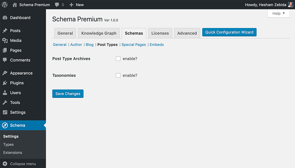 Schema Premium Plugin Settings For Post Types