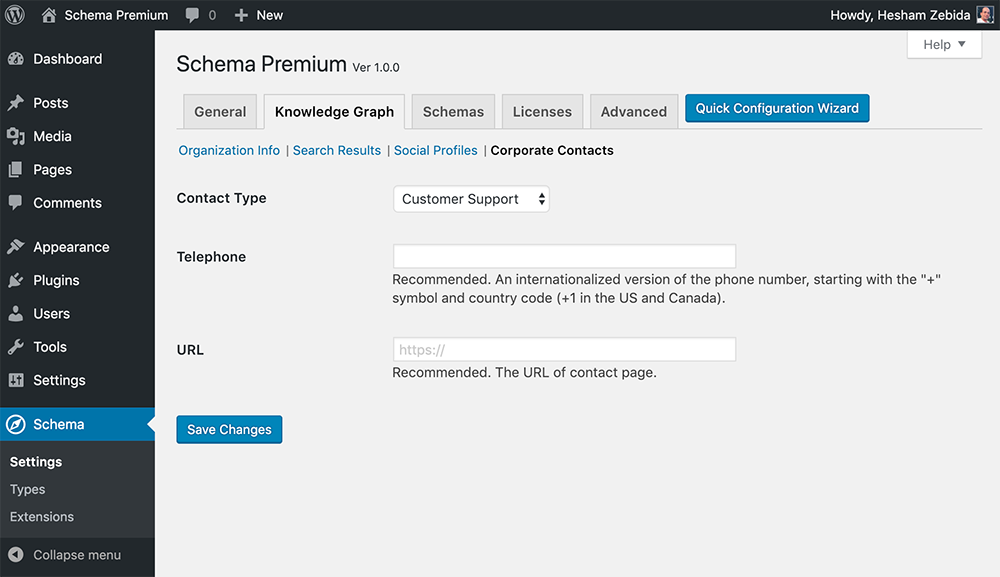 Schema Premium Plugin Settings for Corporate Contacts
