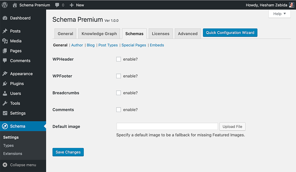 Schema Premium Settings for Schemas