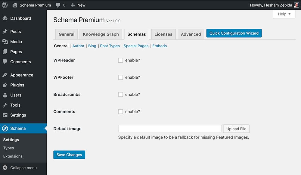 Schema Premium Schemas Settings