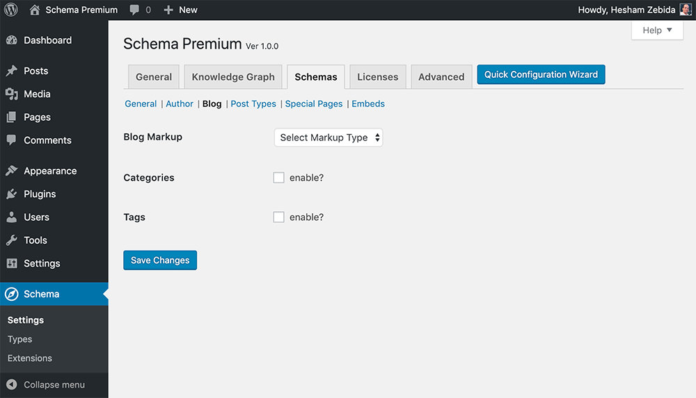 Schema Premium Settings for Blog