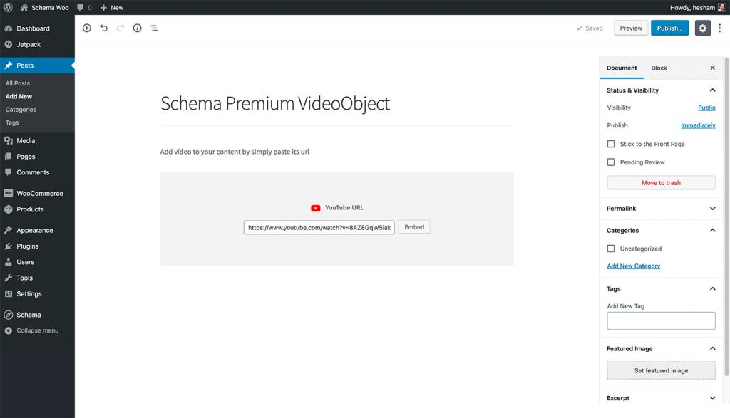 Embed video in Gutenberg editor