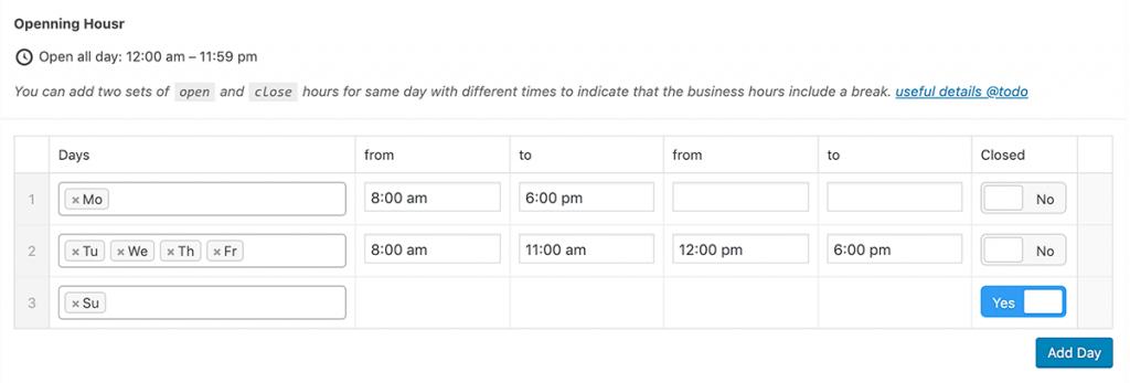 Opening Hours Post Meta Box