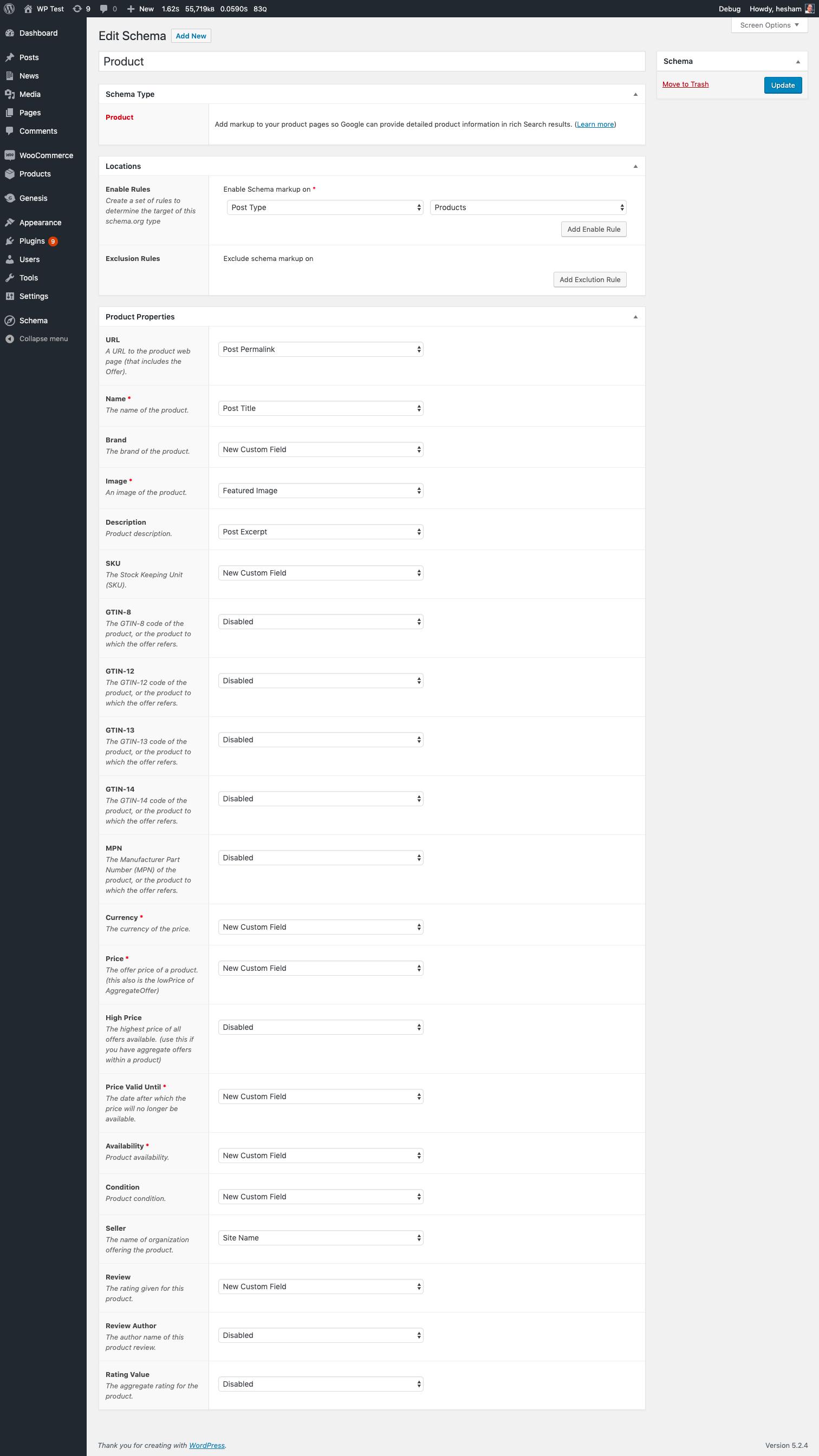 Schema Premium Product add properties settings screen