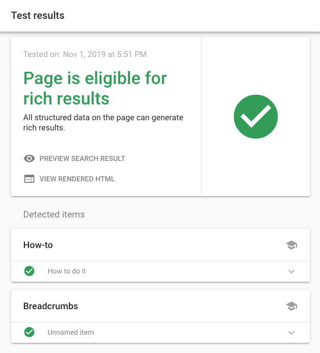 Google Rich Results Test for HowTo Block