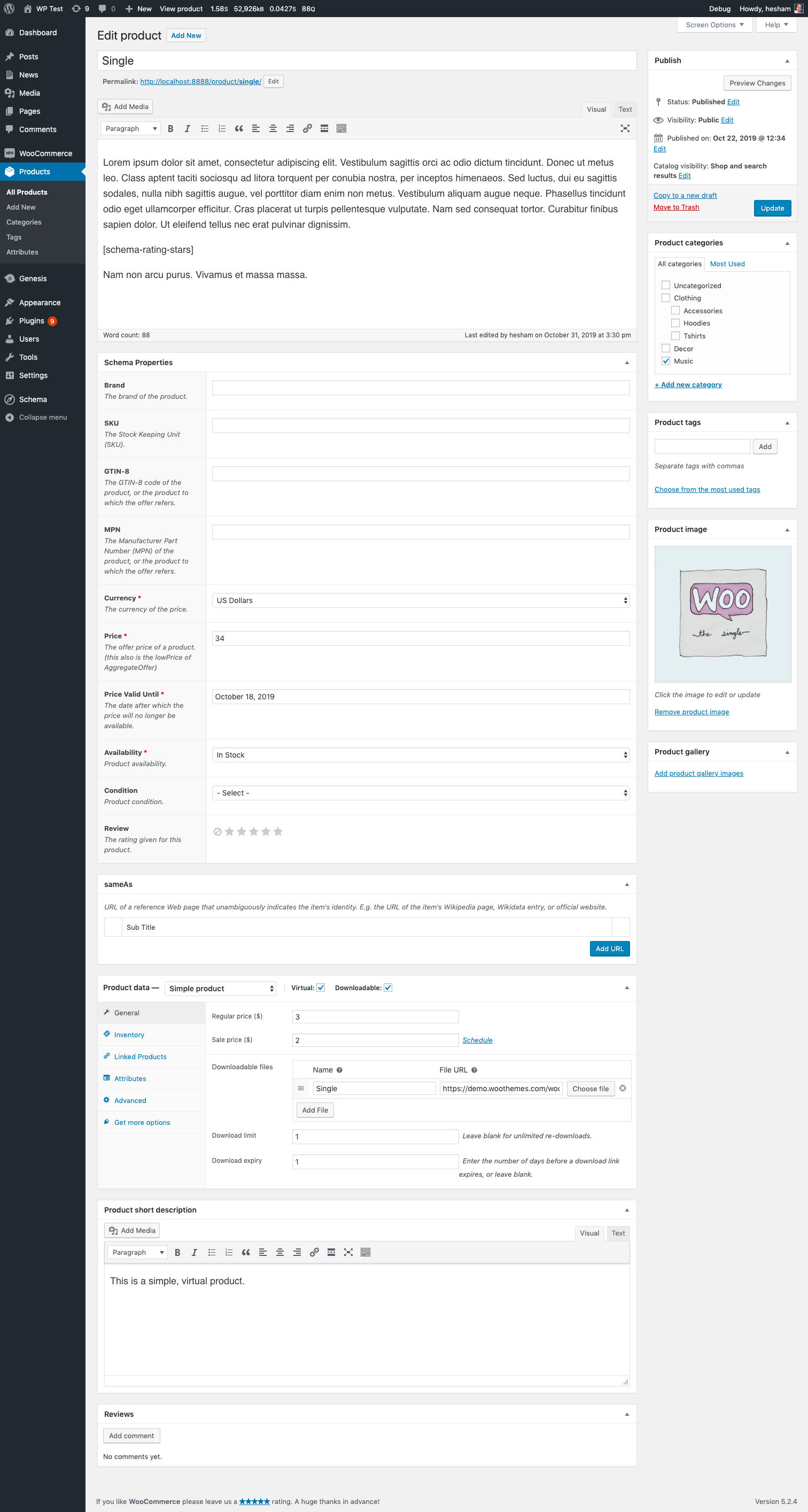 Schema on WooCommerce product page
