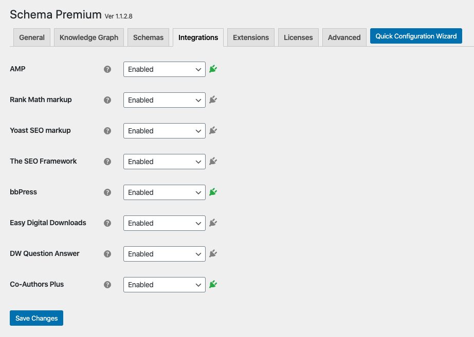 Schema Premium Integrations settings