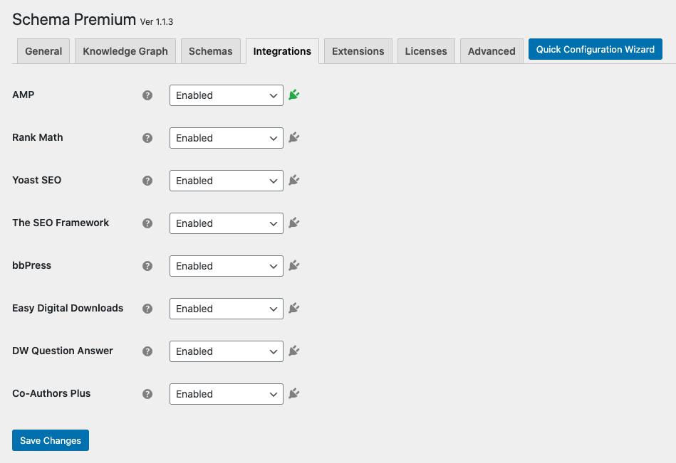 Schema Premium Plugin Integrations Settings