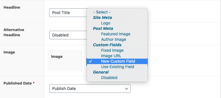 Set Recipe Image to new custom field