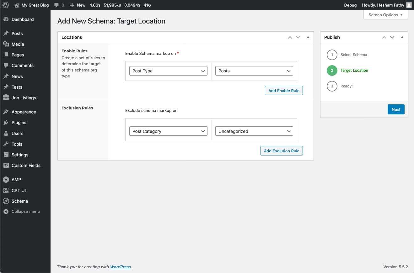 Content location target screen