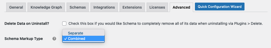 Combined Schema Markup Types Settings