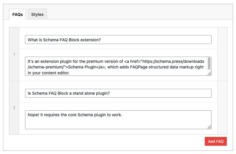 Schema FAQ Block new settings