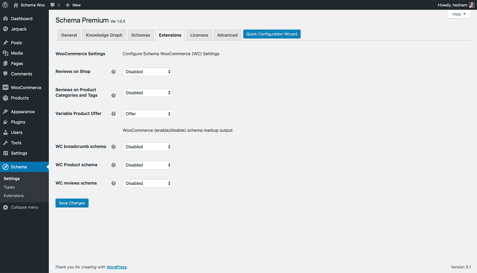 Schema WooCommerce Extension settings page